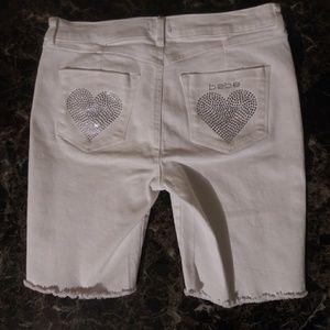 bebe Shorts - White Bebe Shorts